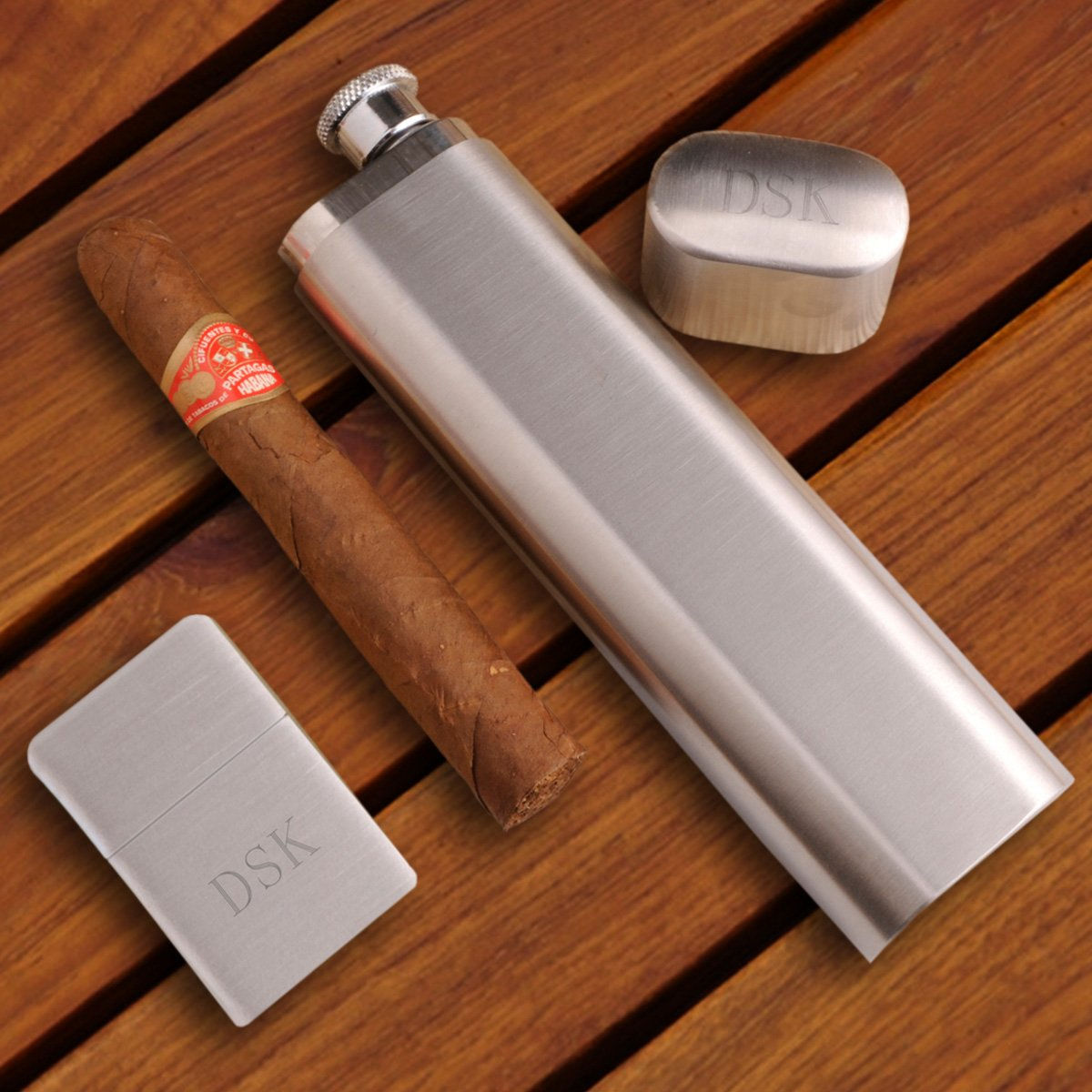 Personalized Cigar Flask with Brushed Silver Lighter Gift Set