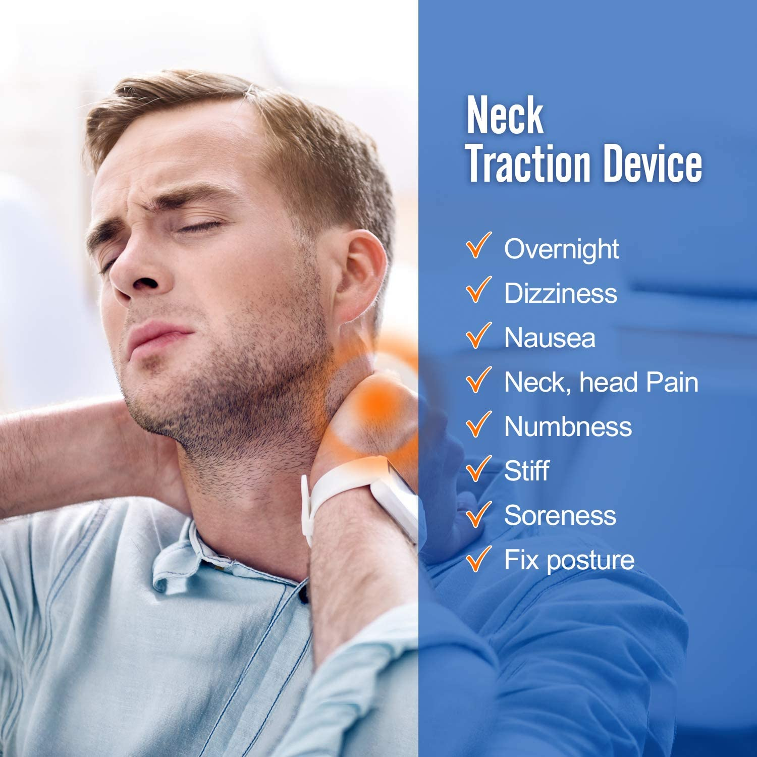 Neck Traction Ohuhu Neck Cervical Traction Collar Device for Neck and Back Pain Relief, Inflatable Spine Alignment Pillow, Grey Father's Day Gift: Health & Personal Care