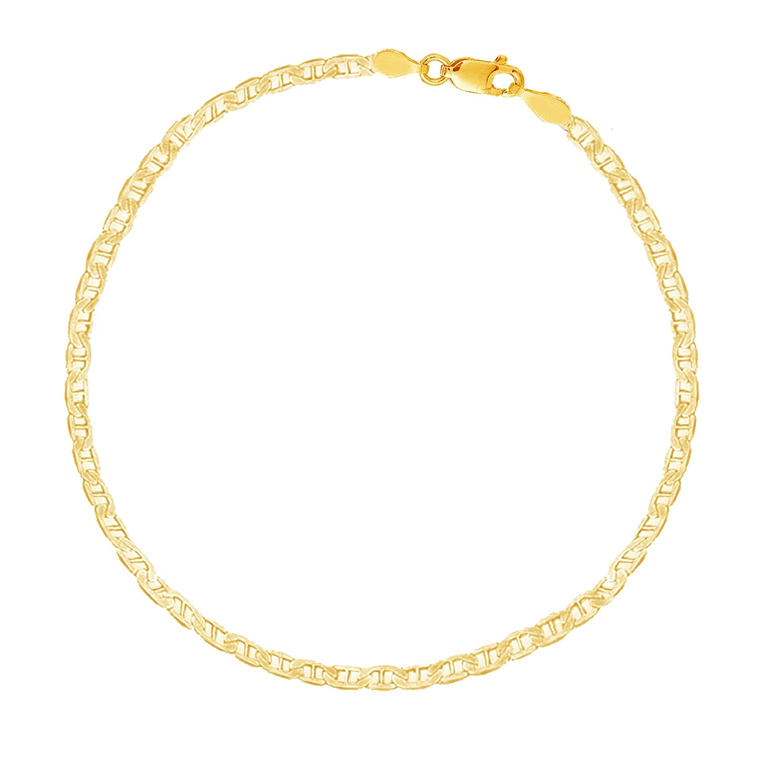 14k Solid Yellow Gold Mariner Link Chain Ankle Anklet 10 Inches Ritastephens