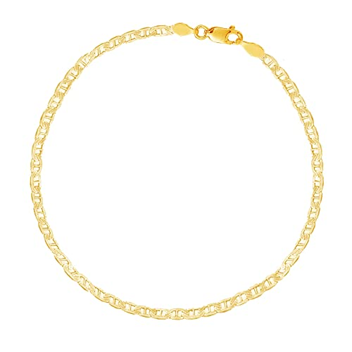 Ritastephens 14k Yellow Gold Mariner Link Foot Chain Anklet, Bracelet, or Chain Necklace 1.7mm, 3.2mm