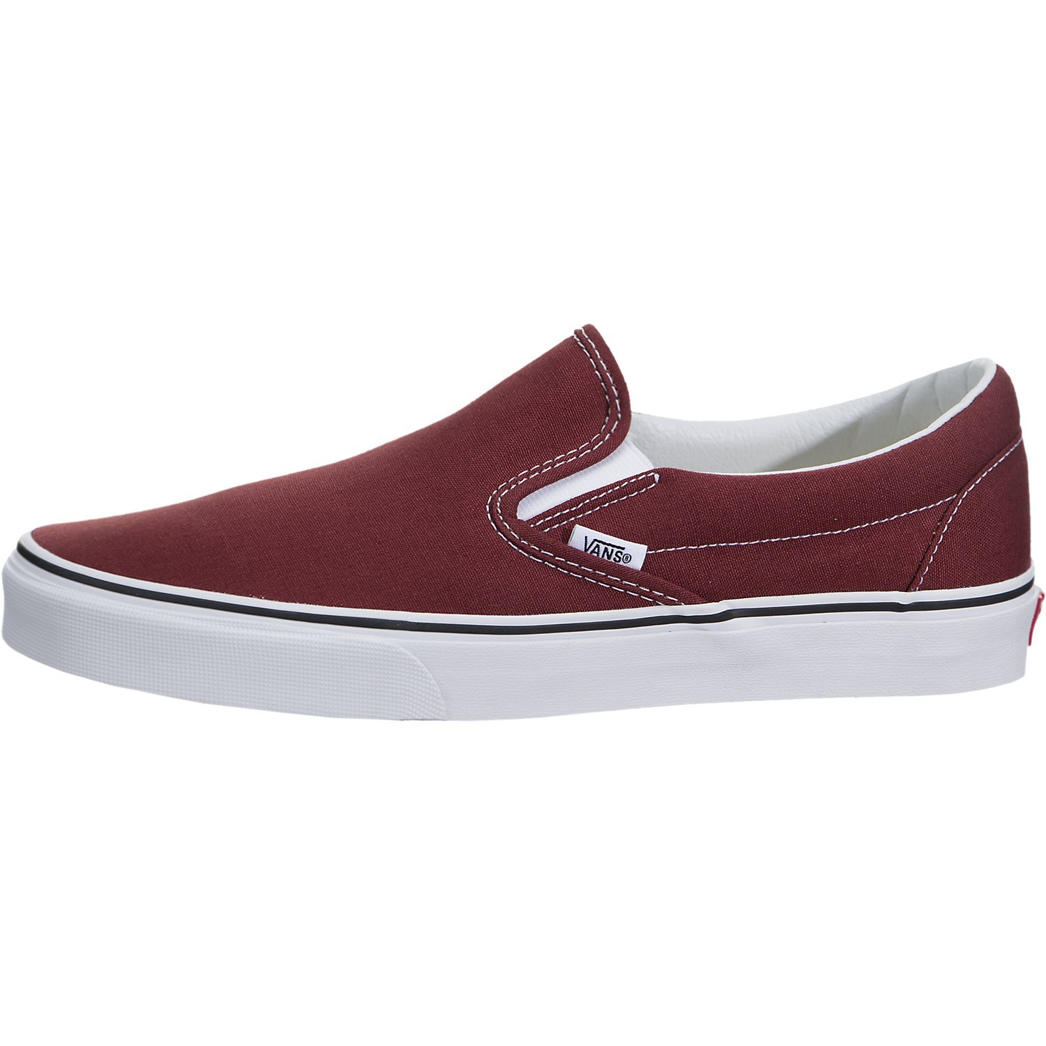 fe76ee9fe4 Galleon - Vans Classic Slip On Mens 7.5 Womens 9 Madder Brown True White Skate  Shoe