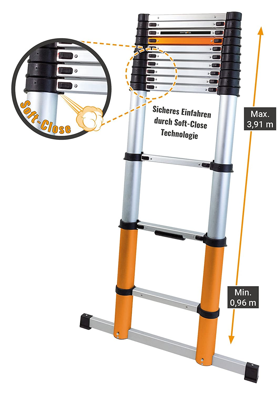 Batavia 7062759/3,90/M escalera telesc/ópica con estabilizador Bar/ /Plata//Naranja//Negro