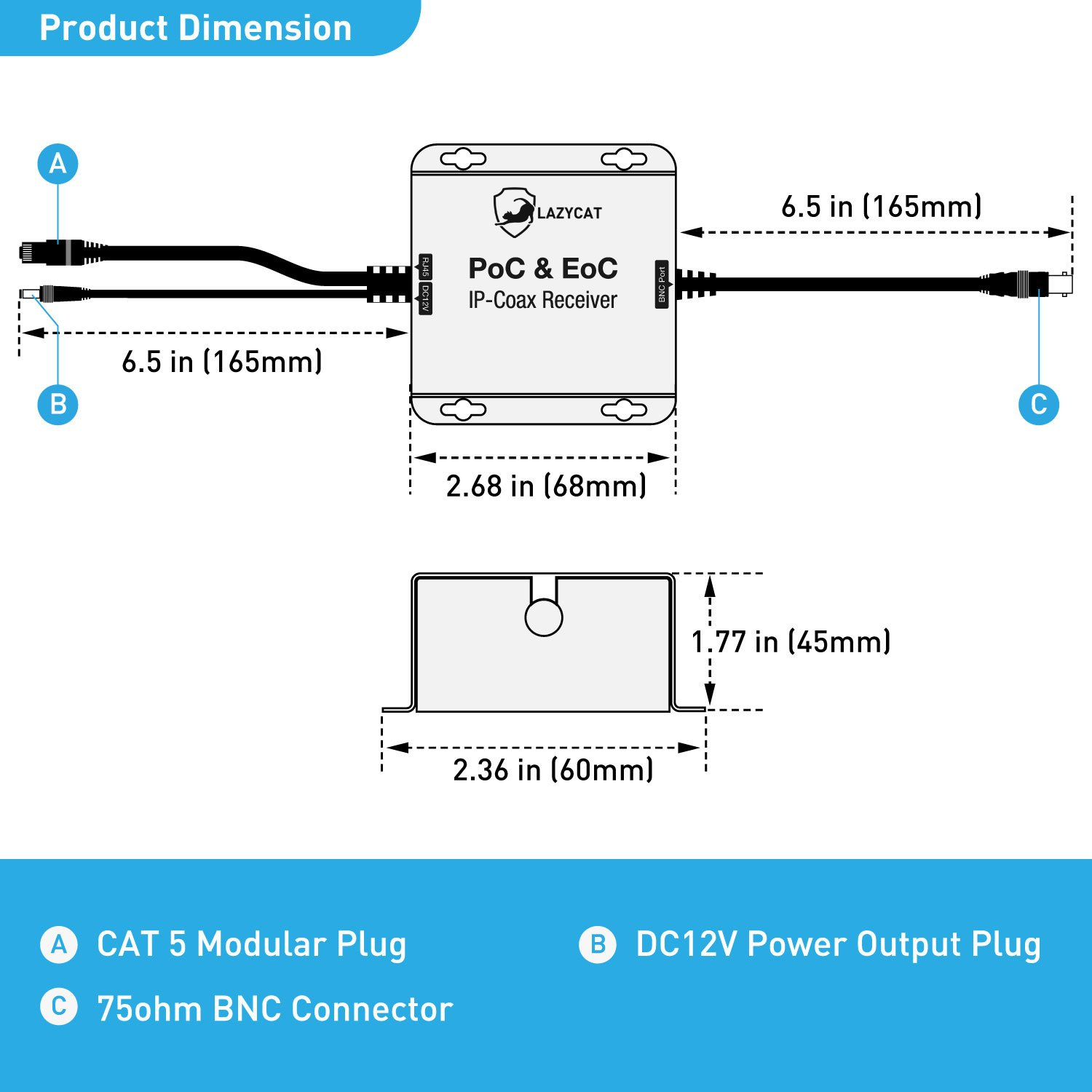 Lazycat Power Ethernet Over Coax Adapter Lciopcr Plug Play Bnc Connector Wiring Diagram Slave Transmitter Supply Network A Surveillance Camera