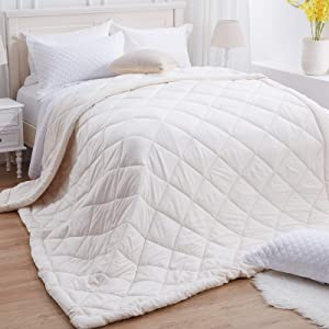 SunStyle Home Down Alternative Comforter King Ivory Quilted Lightweight Duvet Insert Microfiber Fill All Season Machine Washable (King, 108
