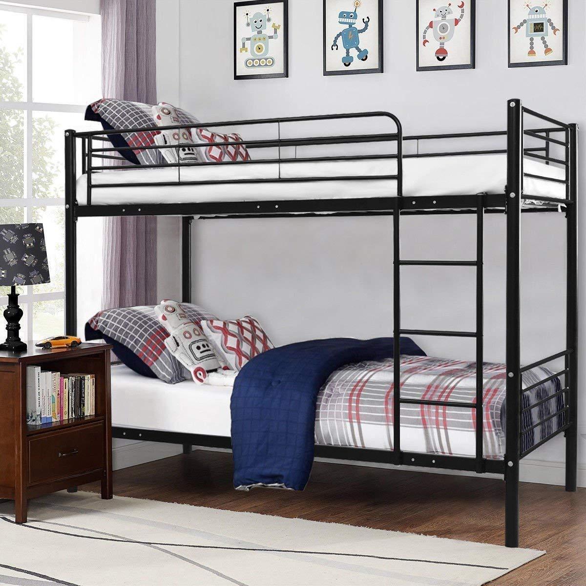 Costzon Twin Over Twin Loft Bed, Metal Frame with Ladder Guard Rail for Boys & Girls Teens Kids Bedroom Dorm (Black)