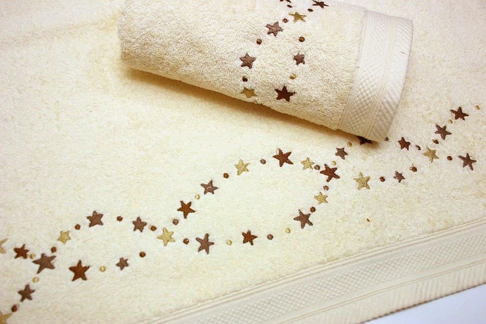 Juego de Toallas Bordadas Estrellas 2 piezas 550gr STARS 2P. Nº15 (Crudo): Amazon.es: Hogar