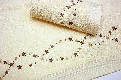 Juego de Toallas Bordadas Estrellas 2 piezas 550gr STARS 2P. Nº15 (Crudo)