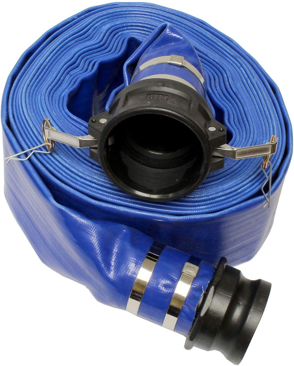 BISupply Lay Flat Hose 3in x 50ft Flat Discharge Hose & Poly Cam Lock – PVC Pool Hose Heavy Duty Backwash Hose