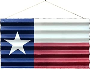 Farmhouse World Metal Texas Decor - Rustic Metal Texas Flag Painted on Corrugated Metal with Vintage Distressed Look - Indoor or Outdoor Use - Perfect for Hanging in Home on Wall, in Garden, or Patio