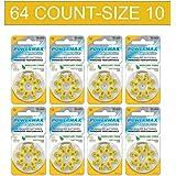 Powermax HearRite 10 Size Hearing Aid Batteries Yellow Tab Zinc Air Mercury-Free 64 Count