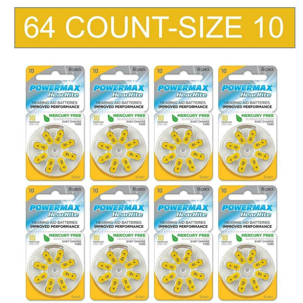 Powermax Size 10 Hearing Aid Batteries, Yellow Tab, Zinc Air Mercury-Free, HearRite, 64 Count