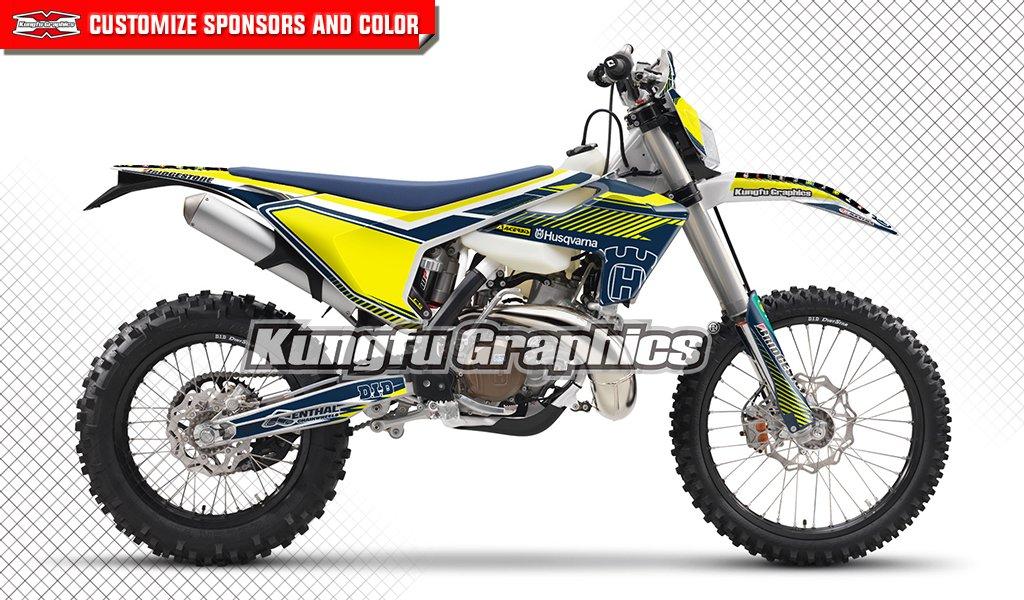 Kungfu Graphics Custom Decal Kit for Husqvarna TC FC TX FX 125 250 300 350 450 2017 2018, Blue Yellow