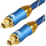 EMK Digital Optical Audio Cable Fiber Optical Toslink Cable with Braided Jacket - 6 Feet(1.8 Meters)