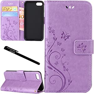 "for iPhone 6 Plus/iPhone 6S Plus Case, Urvoix Card Holder Stand Smooth Hand Feel PU Leather Wallet Case - Embossed Flower Butterfly Flip Cover for 5.5"" Version iPhone6 Plus/6S Plus (NOT for 6) Lilac"