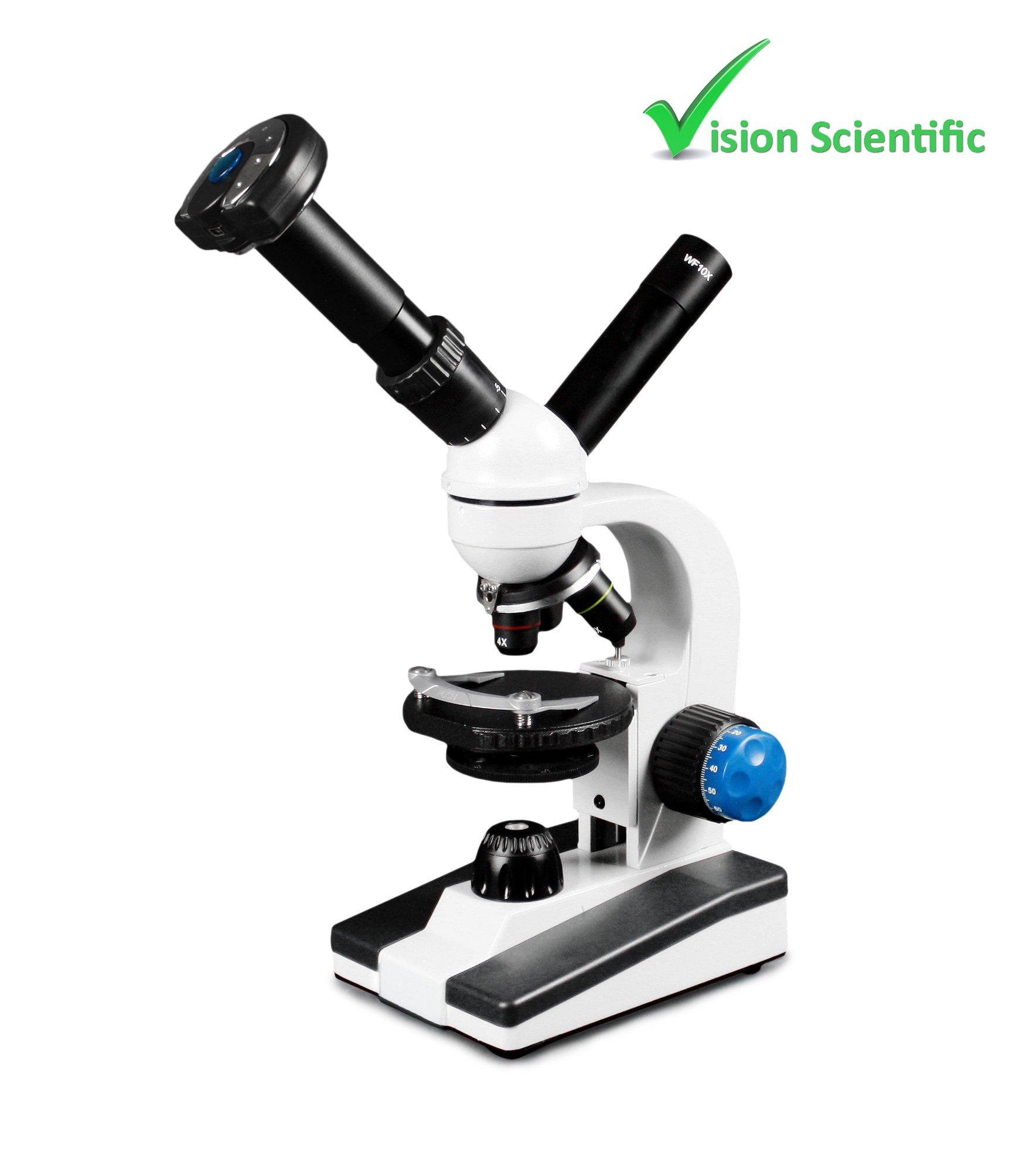 Vision Scientific VME0018-T-LD-DG1.3 Dual View Compound Microscope, 10x WF & 25x WF Eyepiece, 40x—1000x Magnification, LED Illumination, Round Stage, 1.3MP Digital Eyepiece Camera