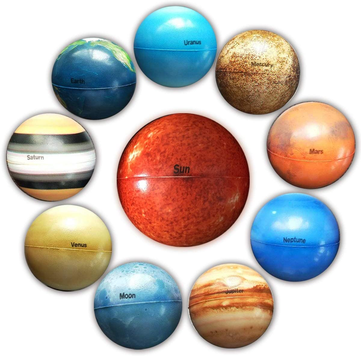 SELMUEL Solar System Stress Ball for Kids and Adult 10 Piece, with mesh Storing Bag, Anti Stress Solar Planets Balls