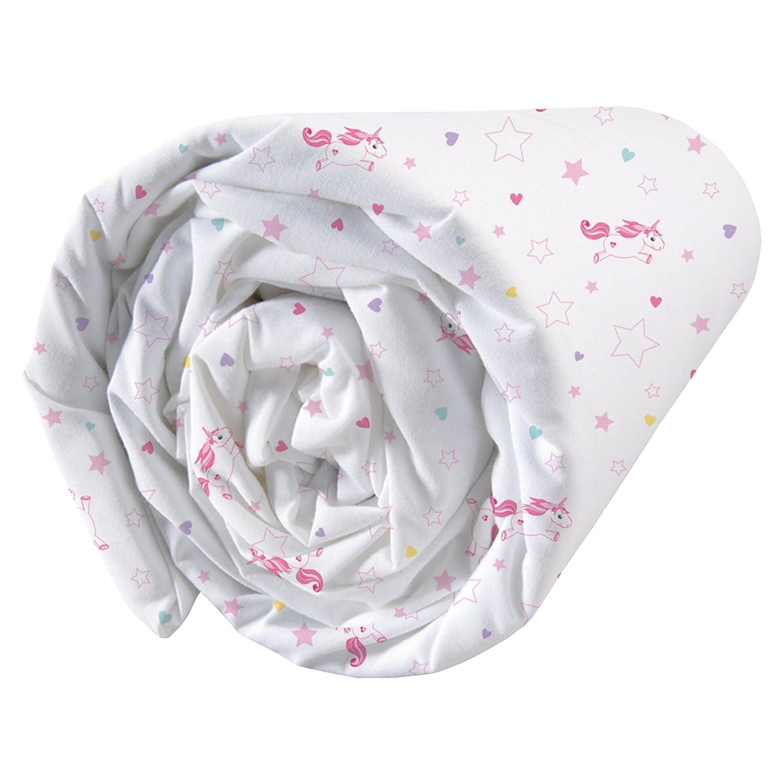 190/x 90/cm Matt /& Rosa Unicorno Bianco Cotone Rose-Blanc Rosa