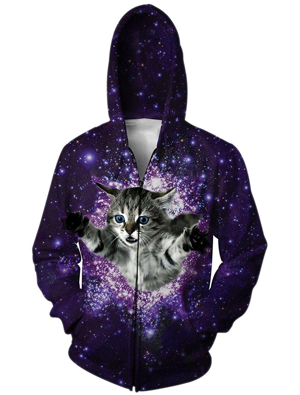 Unisex 3D Digital Printed Drawstring Pockets Zipper Hoodie Sweatshirts Hooded