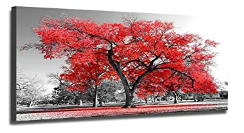 Youkuart Wall Art Painting Contemporary Red Tree In Black And White Style Fall Landscape Picture Modern Giclee Stretched And Framed Artwork