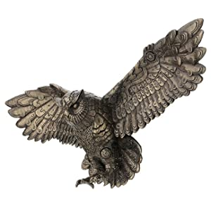 "Steampunk Flying Owl Wall Plaque 21.65"" W Cold Cast Bronze"
