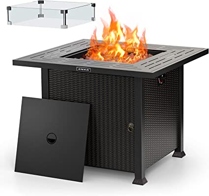 32 Propane Gas Fire Pit Table 50 000 Btu With Glass Wind Guard 2021 Upgrade Snan Auto Ignition Etl Certification Outdoor Companion Garden Outdoor