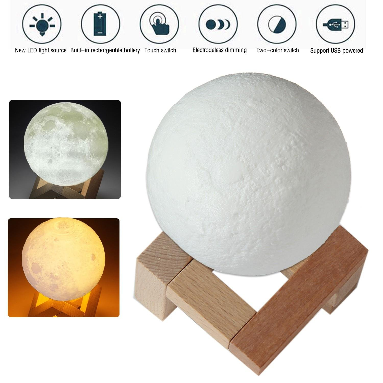 Kobwa 3d印刷Moonランプナイトライト、USB RechargerableタッチスイッチLuna Nightライト色と明るさ調節可能な、木製マウント、直径3.1インチ 3.1 Inch ホワイト 6025779753395 B0755FDV56 15761   3.1 Inch