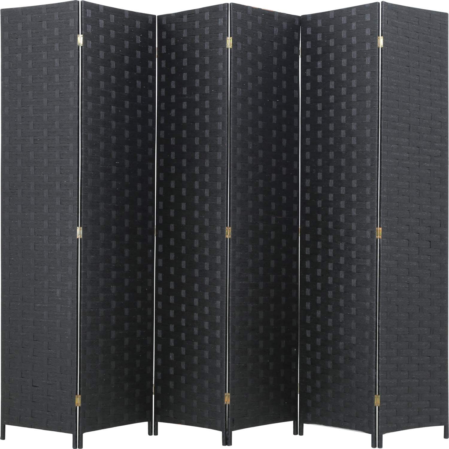 FDW Room Divider Wood Screen 6 Panel Folding Portable Partition Screen Wood Mesh Woven Design Room Screen Divider Screen Wood for Home Office (Black)