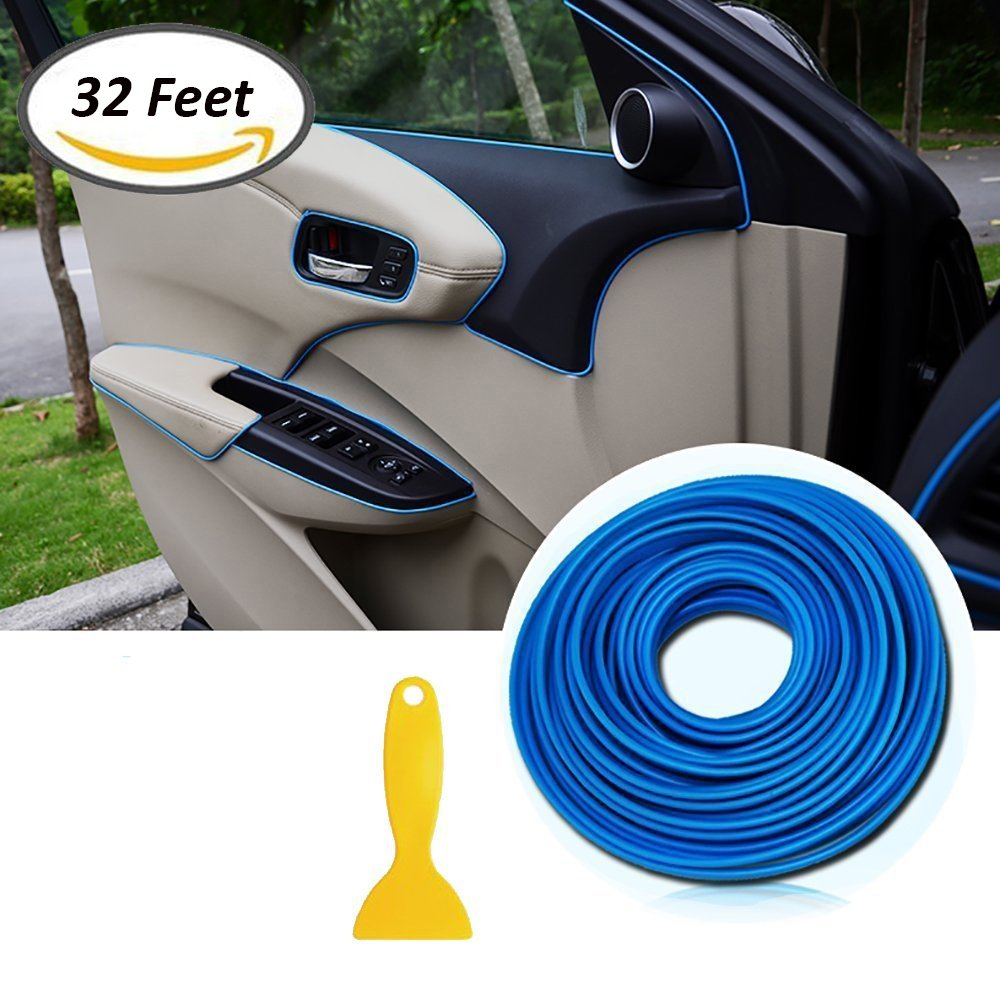Car Edging Trim Moulding Strips - AUTOMAN Gap Filler Decorative Flexible Interior Moulding Trim Strip (32ft, Chrome Red) SEAMETAL