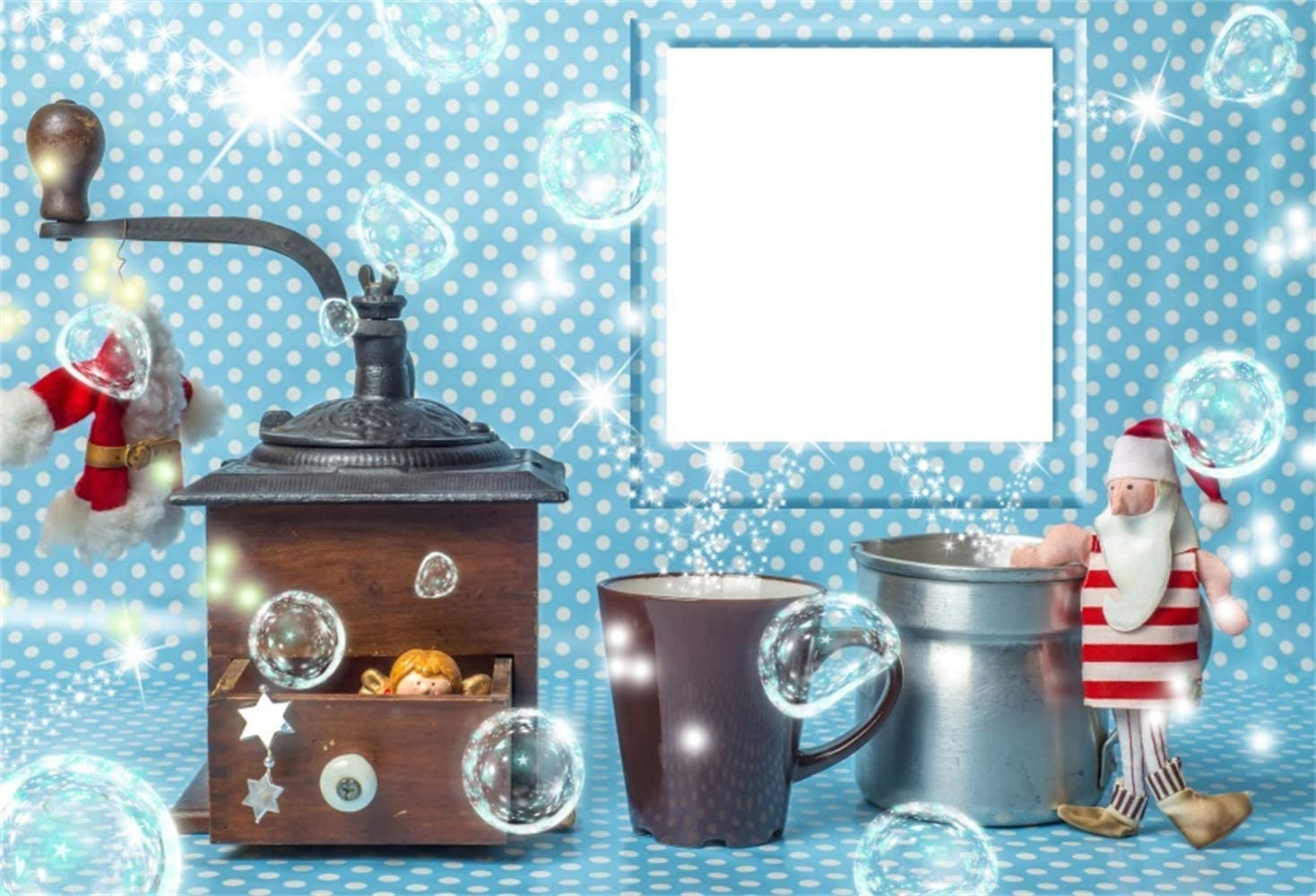 Coffee Grinder Xmas Clothes Doll Photoframe Blue White Polka Dots Wallpaper Background Child Kids Baby Shoot Childish Wallpaper Polyester Children Christmas Photography Background 7ft x5ft H W