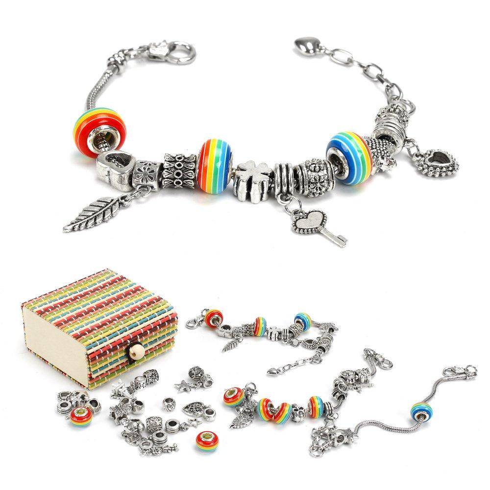 Sun studio Charm Armband Kit DIY Schmuck Bastelset mädchen Handwerk Perle überzogen mit Silber Kette schmuck mädchen für Basteln (# 1) SUN029