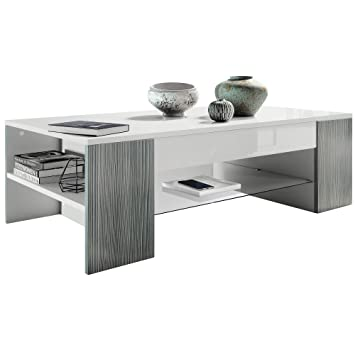 Vladon Avola Salon Anthracite En Des Clip Basse De Blanc Bordures Table uTJ1c3FlK