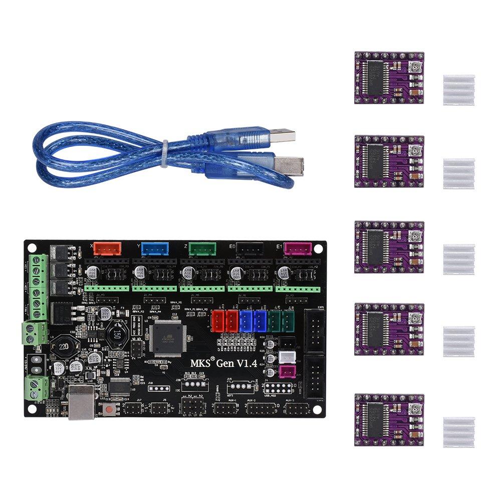 KINGPRINT MKS-Gen V1.4 Controller Board+5PCS DRV8825 Stepper Motor Mega 2560 Motherboard RepRap Ramps1.4 Compatible +USB Cable for 3D Printer