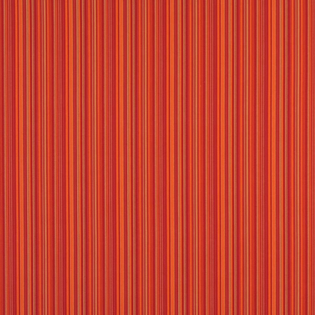B466 Orange Striped Indoor Outdoor Marine Scotchgard Contemporary Upholstery Fabric by The Yard