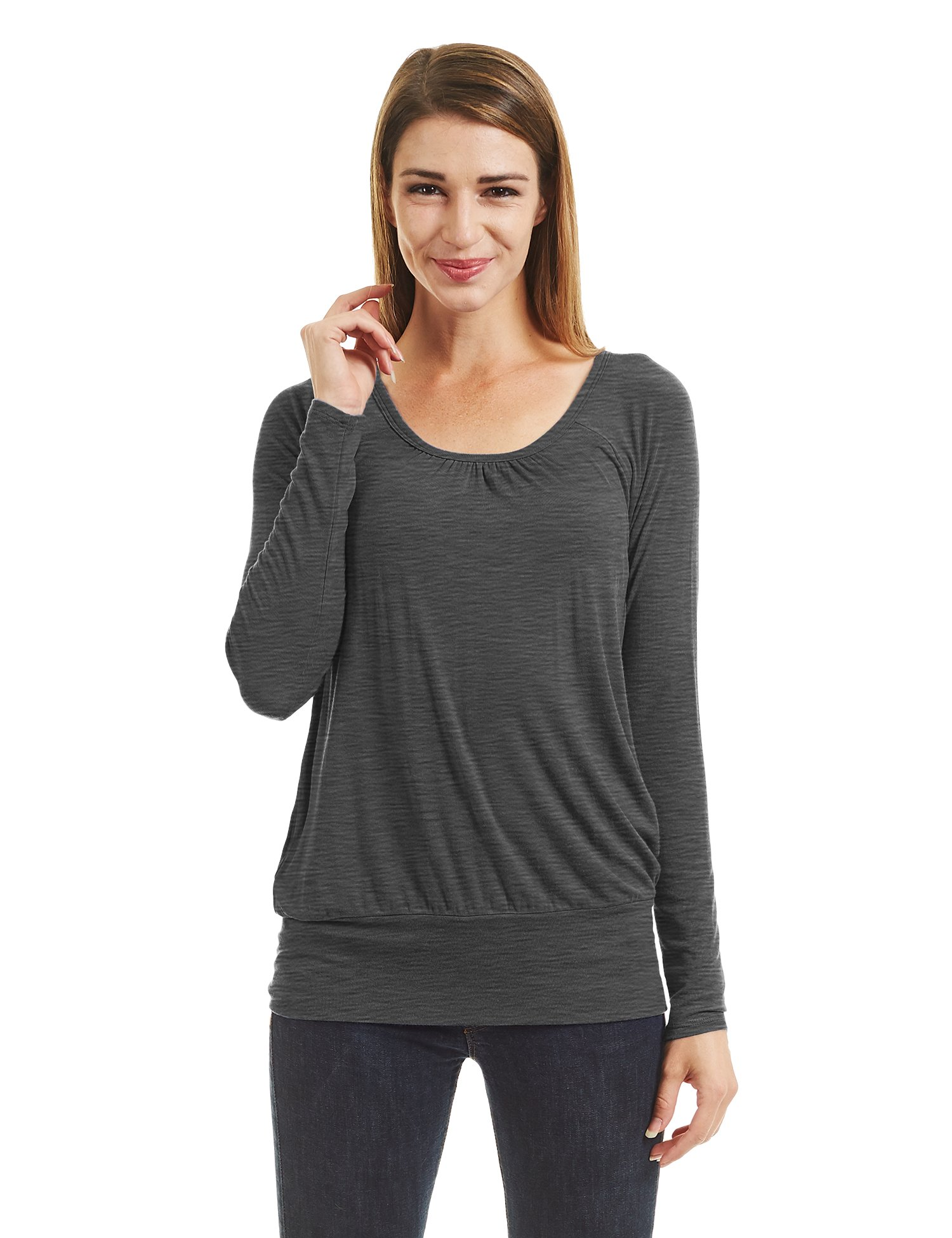 WT1473 Womens Scoop Neck Long Sleeve Front Pleated Top XL HEATHER_CHARCOAL
