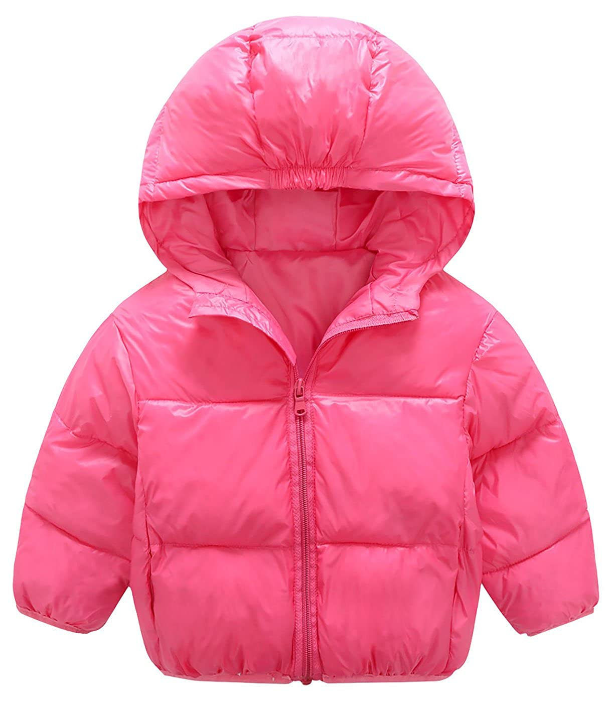 Mengxiaoya Little Boys Girls Winter Puffer Coats Windproof Warm Down Jacket Lightweight Rose Red 12-24Months