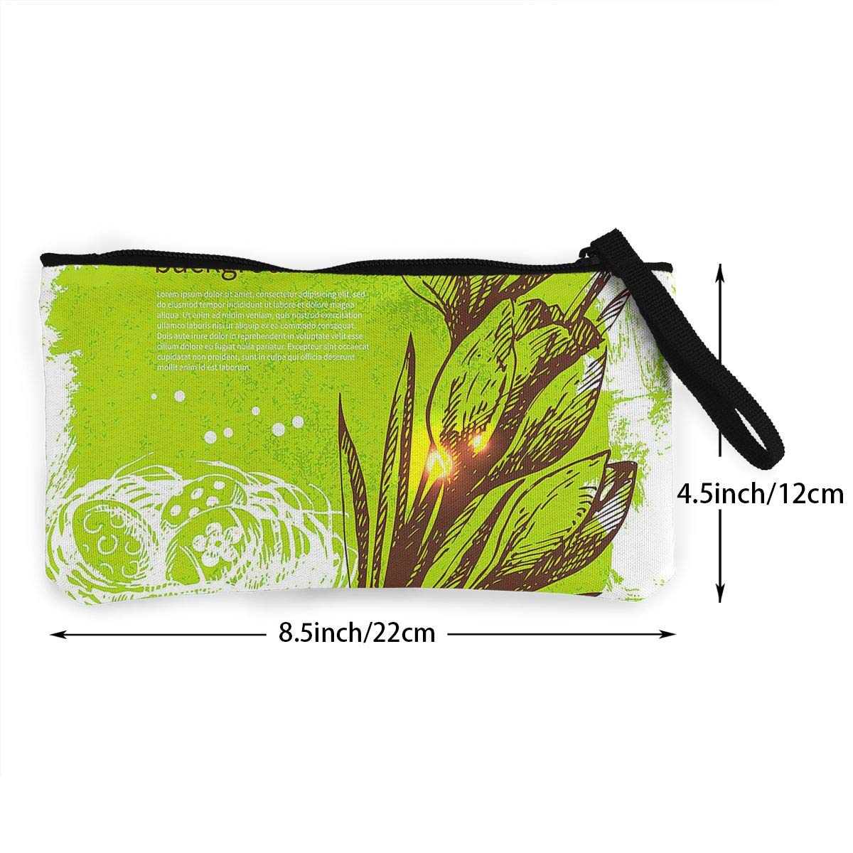Maple Memories Easter White Lily Eggs Portable Canvas Coin Purse Change Purse Pouch Mini Wallet Gifts For Women Girls