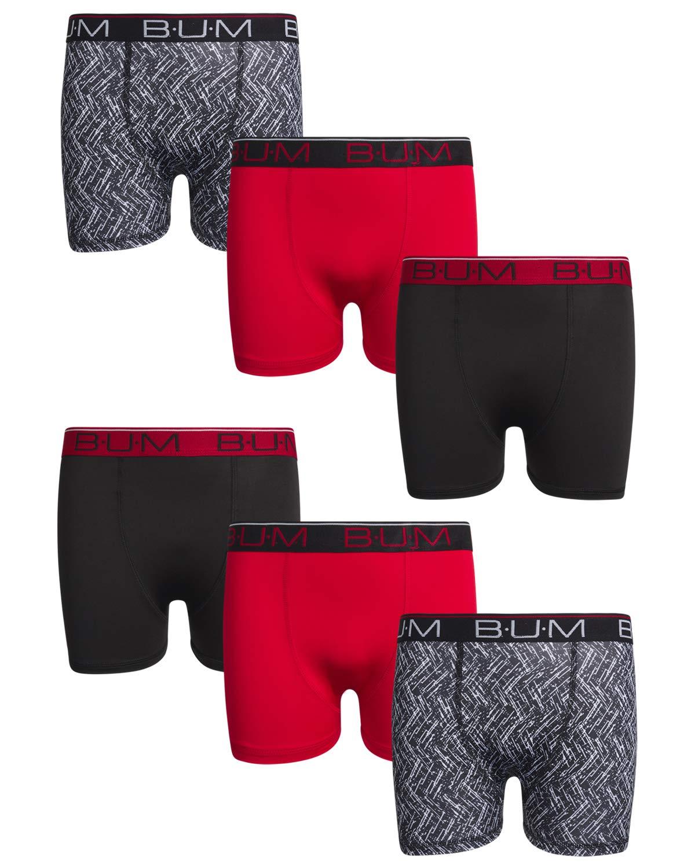 B.U.M. Equipment Boys' Performance Dri-Fit Compression Boxer Briefs (6 Pack) (Black/Red/Multi, Large / 12-14)'