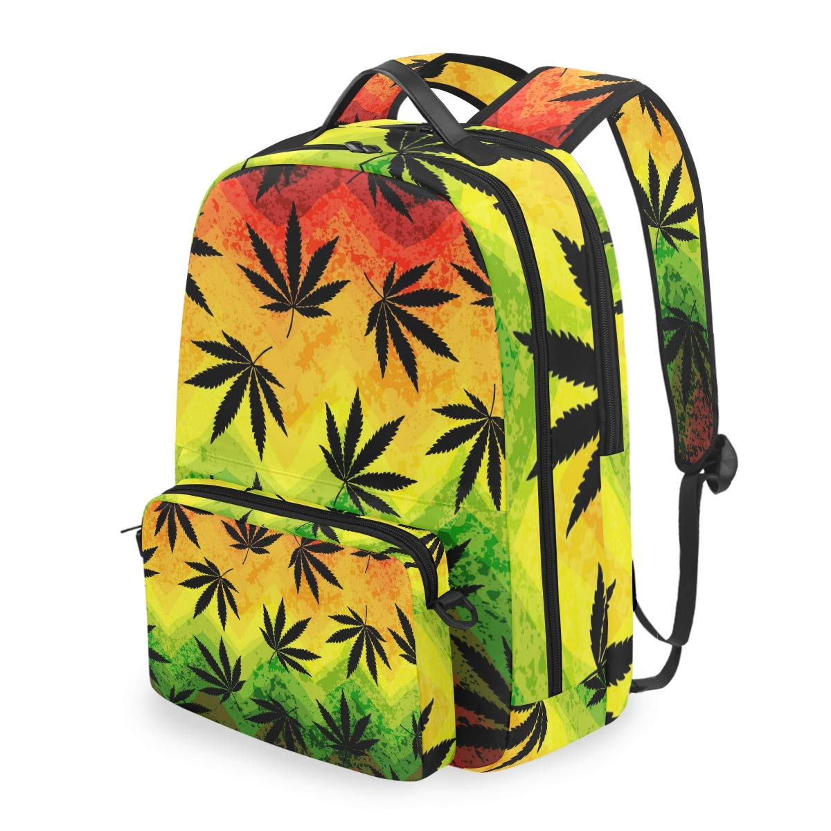 MAHU Backpack Marijuana Hemp Leaves Detachable College Bag Travel Zipper Bookbag Hiking Shoulder Crossbody Bag Daypack for Women Men
