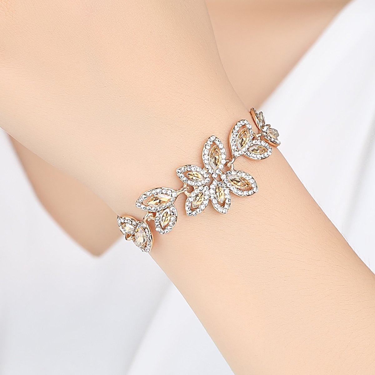 mecresh Champagne Rhinestone Leaf-Shape Earring and Bracelets Wedding Jewelry Sets for Women Brides Bridesmaid by mecresh (Image #3)