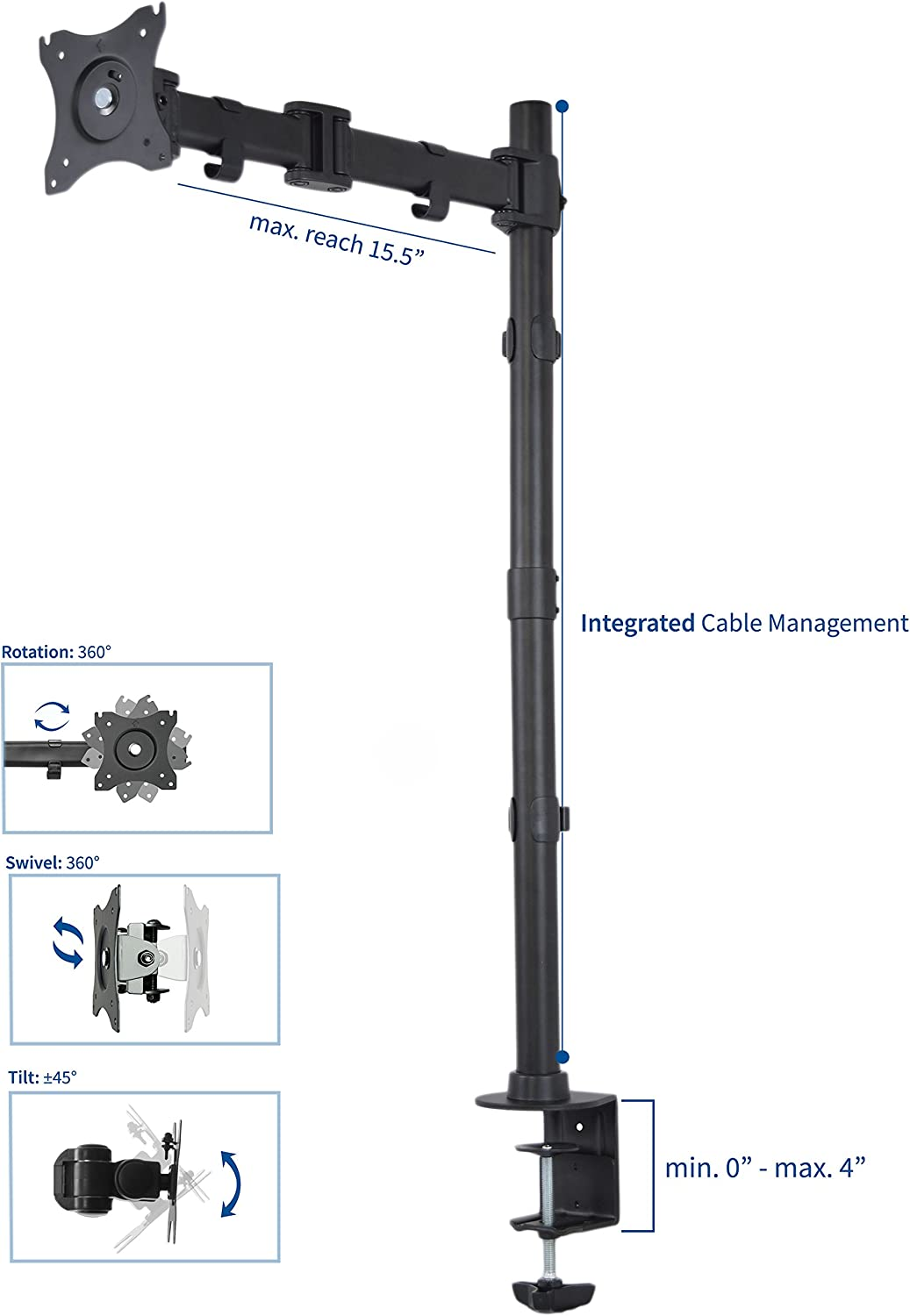 STAND-V001M VIVO Single Monitor Desk Mount Fully Adjustable Articulating Stand for 1 LCD Screen up to 32 inches