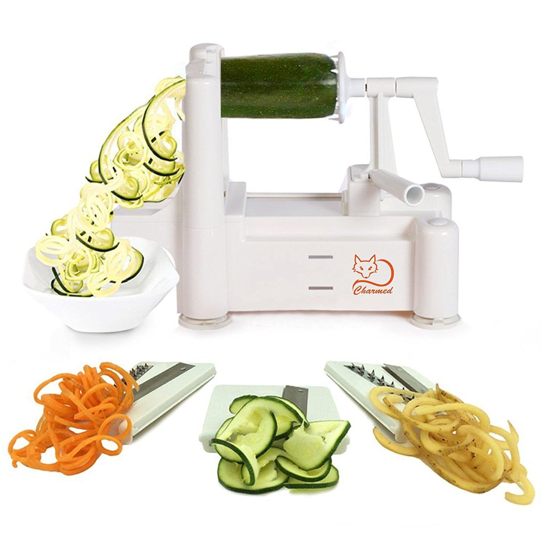 Amazon.com: Charmed Tri-Blade Vegetable Spiral Slicer grater peeler ...