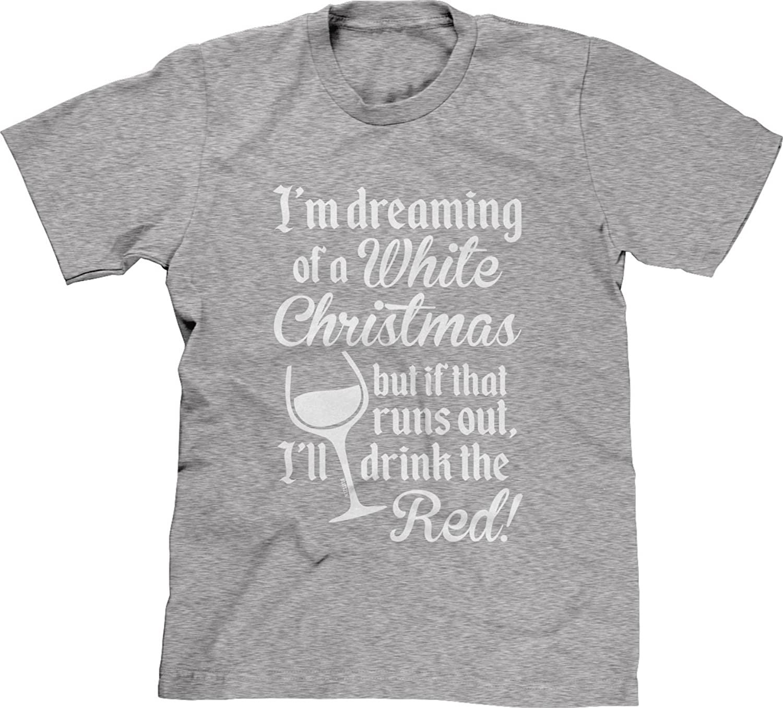 Blittzen Mens T-shirt Dreaming Of White Christmas Drink The Red