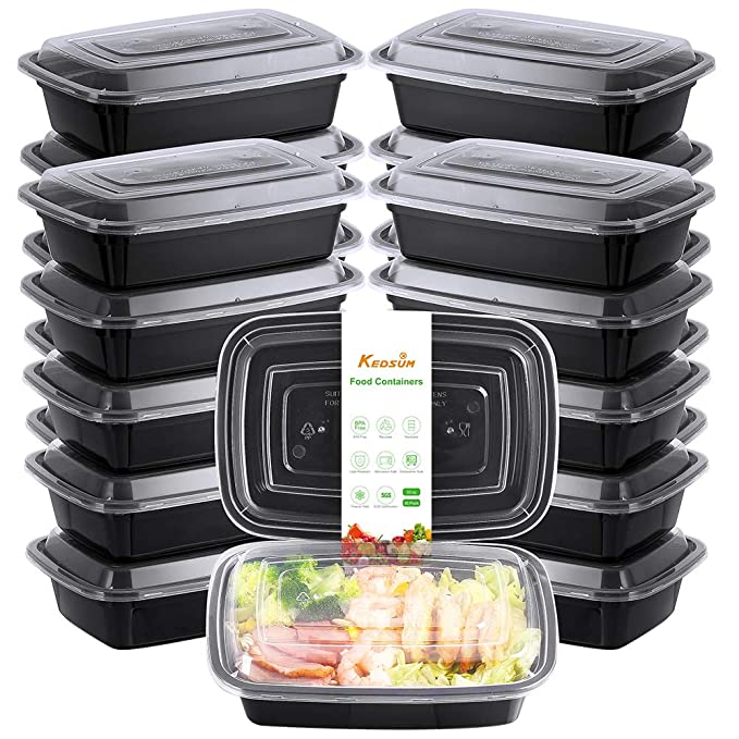 KEDSUM Meal Prep Containers [30 Pack] Single One Compartment with Lids, Food Containers, Bento Boxes with BPA Free, Stackable & Reusable Lunch Boxes, Freezer/Microwave/Dishwasher Safe, Black(33oz)