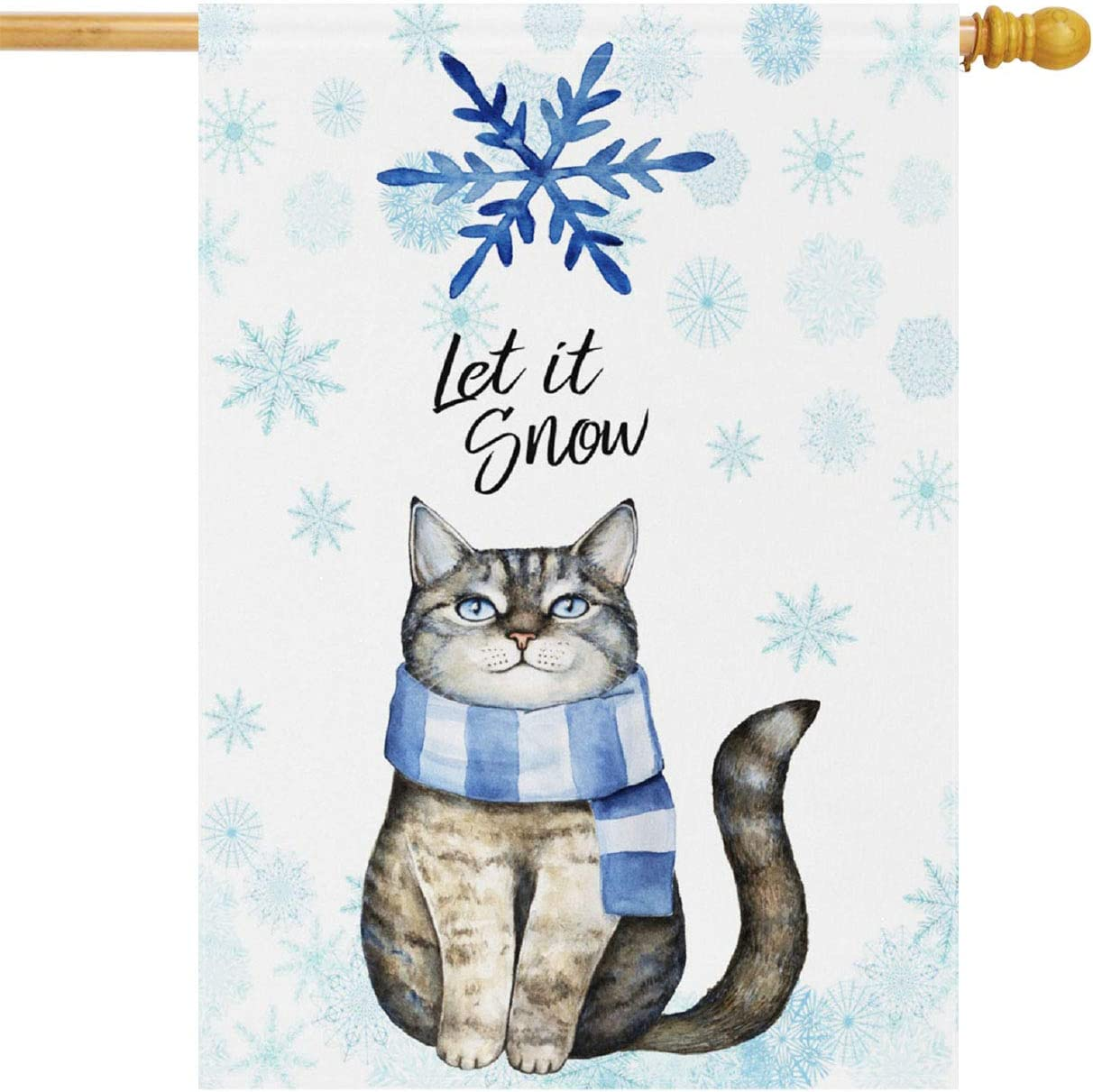 Wamika Winter House Flag 28 x 40 Double Sided, Cute Cat Kitten Let Snow Blue Snowflake Welcome Holiday Yard Outdoor Garden Flags Banner Party Home Decor Christmas Decorations