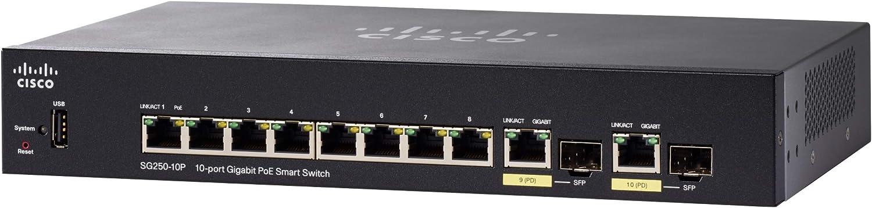 Cisco SG250-10P Smart Switch with 10 ports Gigabit Ethernet (GbE) Ports, 2 Gigabit Ethernet Combo SFP, 62W PoE, Limited Lifetime Protection (SG250-10P-K9-NA)