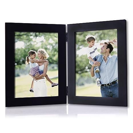 Adeco 5 x 7 negro plegable de madera Foto Marcos para dos 5 x 7 pulgadas
