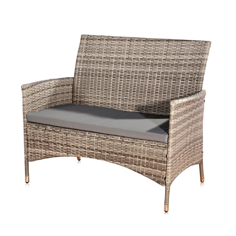 Unbekannt Melko® PolyRattan Gartenbank Gartenmöbel Lounge Sitzgarnitur, Grau