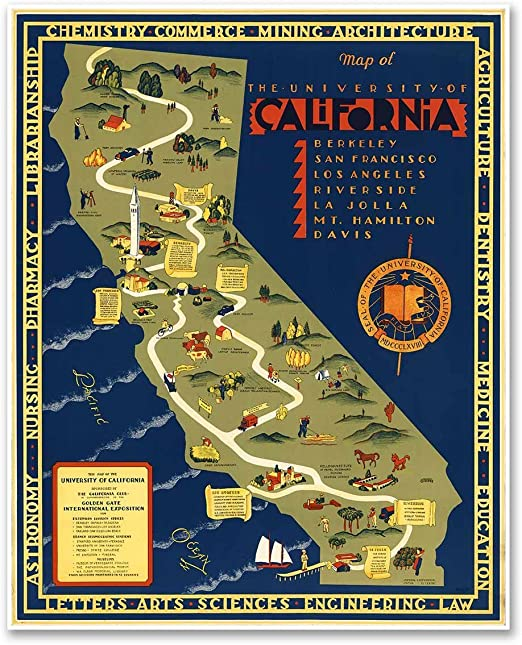 Antiguos Maps - The University of California Campus Map Circa 1939 -  Measures 24 in x 30 in (610 mm x 762 mm)