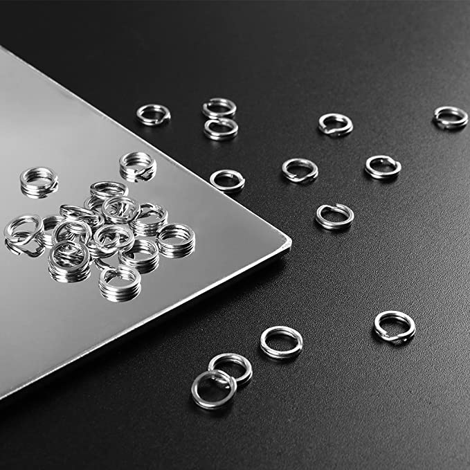 T TOOYFUL 100pcs Angeln Split Ring Edelstahl Double Loop Snap Tackle Anschl/üsse