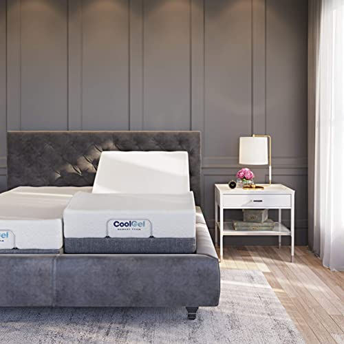 Classic Brands Adjustable Comfort Upholstered Adjustable Bed Base with Massage, Wireless Remote, Three Leg Heights, and USB Ports-Ergonomic, King Split , Black